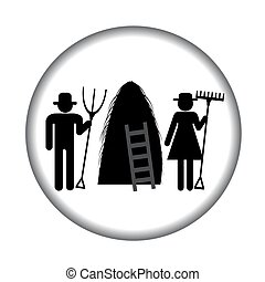 Farm icon with haystack and farmers