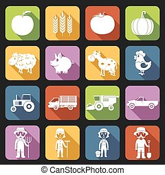 Farm Icons Set Flat
