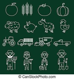 Farm icons set outline