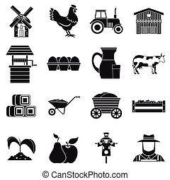 Farm icons set, simple style