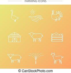 Farm icons set.