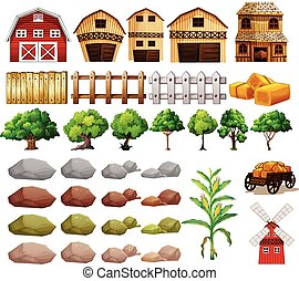 Farm - Illustration of a set of farming objects and...