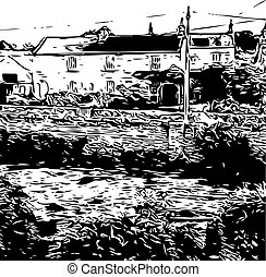 Farm in etching style
