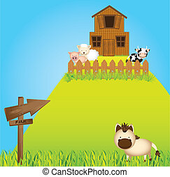 farm in mountain witth animals and barn