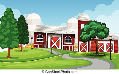 Farm in nature scene with barn and farm factory