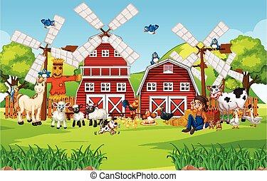Farm in nature scene with barn and windmill animal farm