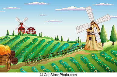 Farm in nature scene with barn and windmill