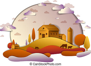 Farm in scenic autumn landscape of fields and trees and wooden country buildings, clouds in the sky, cow milk ranch, countryside fall time vector illustration in paper cut style.