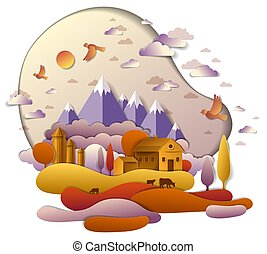 Farm in scenic autumn landscape of fields and trees, mountains peaks and country buildings, birds and clouds in sky, cow milk ranch, countryside fall time vector illustration in paper cut style.