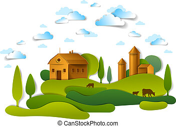 Farm in scenic landscape of fields and trees and wooden country buildings, clouds in the sky, cow milk ranch, countryside lazy summer time vector illustration in paper cut style.