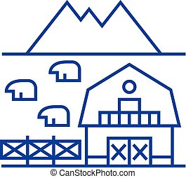 Farm in tuscany line icon concept. Farm in tuscany flat...