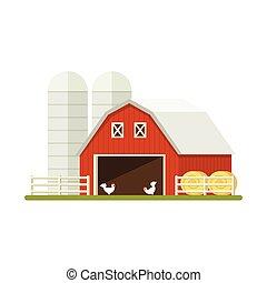 Farm isolated on white background. Flat illustration.