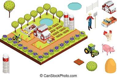 Farm Isometric Composition