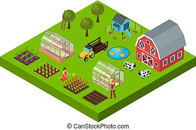 Farm Isometric Concept