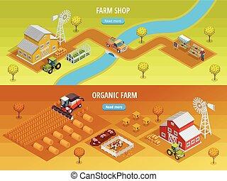 Farm Isometric Horizontal Banners