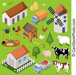 Farm isometric set. Isolated. Map Elements. Vector illustration