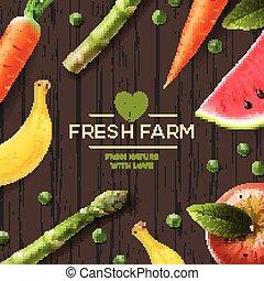 Farm label, bio healthy food on wooden background