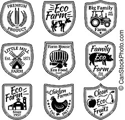 Farm labels vector set. With fruits, vegetables, animals, mill, barn, wheat, tractor.