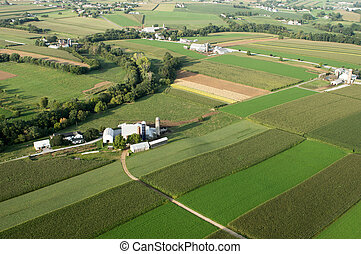 Farm Land from Above - An aerial view of farmland in...