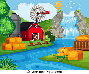 Farm land with waterfall