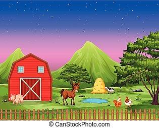 Farm landscape at night
