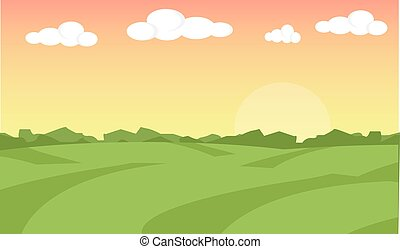 Farm landscape. Farm landscape illustration. Farm field background. Farm sunrise background. Vector illustration