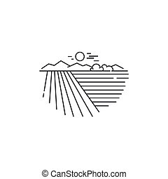 Farm landscape, field line icon. Outline illustration of...
