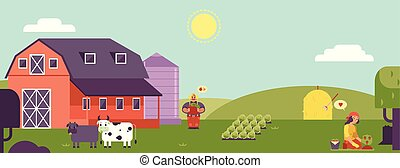 Farm landscape horizontal banner or header with farmers working on plantation and village animals.