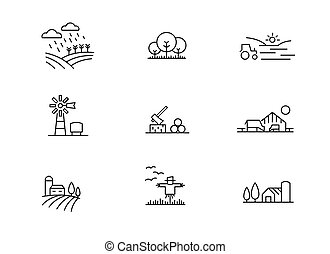 Farm landscape icons