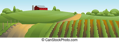 Farm Landscape Illustration - Illustration of an idyllic...