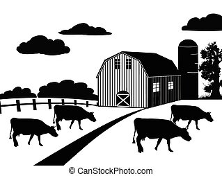 Farm landscape on white background, vector illustration