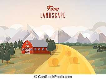 Farm landscape panorama with hay wheat field and mountain