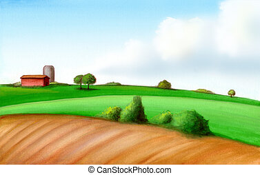 Picturesque farmland in Italy. Hand painted illustration, digitally enhanced.