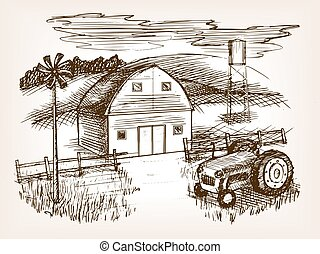 Farm landscape sketch vector illustration