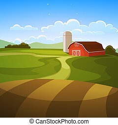 Farm Landscape - The farm background, cartoon vector ...