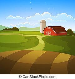 The farm background, cartoon vector illustration.