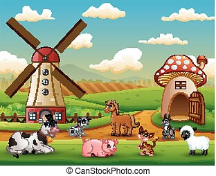 Farm landscape with animals outside the cage