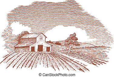 Farm Landscape with Barn - Pen and ink style illustration of...