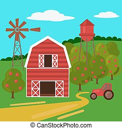 Farm landscape with barn tractor and windmill