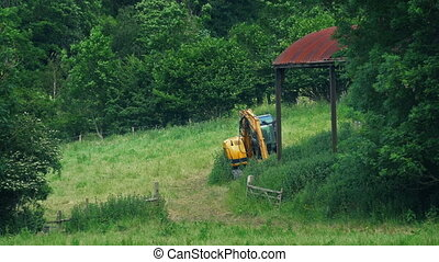 Farm Landscape With Digger And Old Shed - Rural scene with...