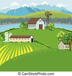 Farm landscape with farm house, windmill and mountain background. Flat color style vector.