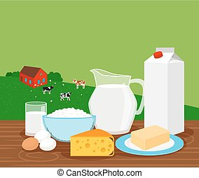 Farm landscape with milk products banner