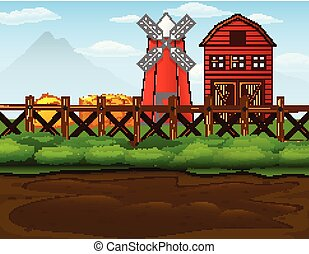 Farm landscape with shed and windmill