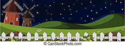 Farm larm landscape at night