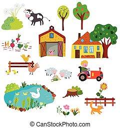 Farm life design elements set - funny design
