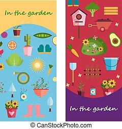 Farm life in the garden banner. illustration