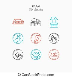 Farm line color icons set