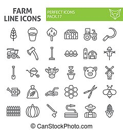 Farm line icon set, agriculture symbols collection, vector sketches, logo illustrations, gardening signs linear pictograms package isolated on white background.