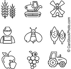 Farm line vector icons set