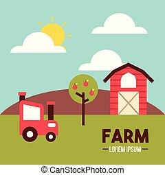 farm lorem ipsum flat icon vector illustration design...